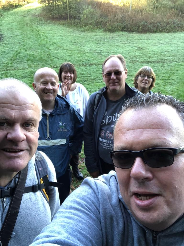 Daren, John, Brian and the wags out walking